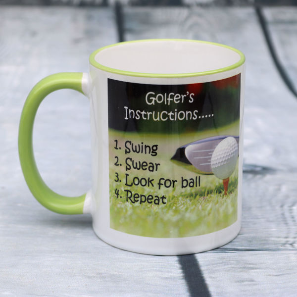 Picture of Golfer's instructions - Swing, swear, look for ball, repeat    - CERAMIC MUG
