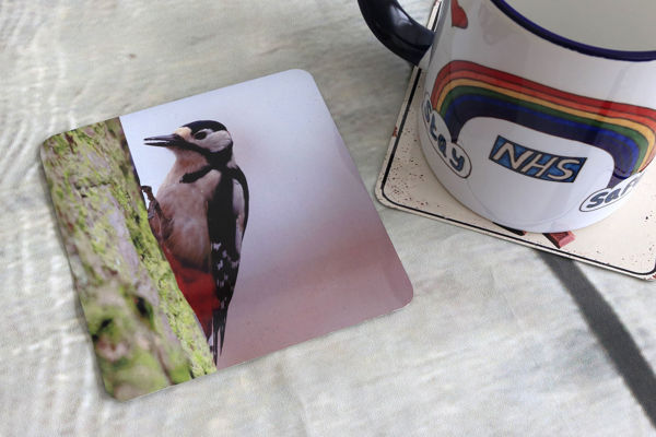 Picture of Greater Spotted Woodpecker - Aluminium Drinks Coaster