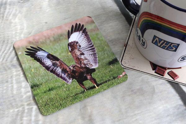 Picture of Buzzard #1 - Aluminium Drinks Coaster
