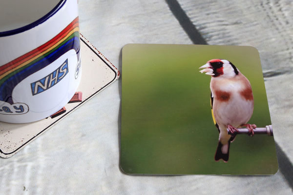 Picture of Goldfinch #1 - Aluminium Drinks Coaster