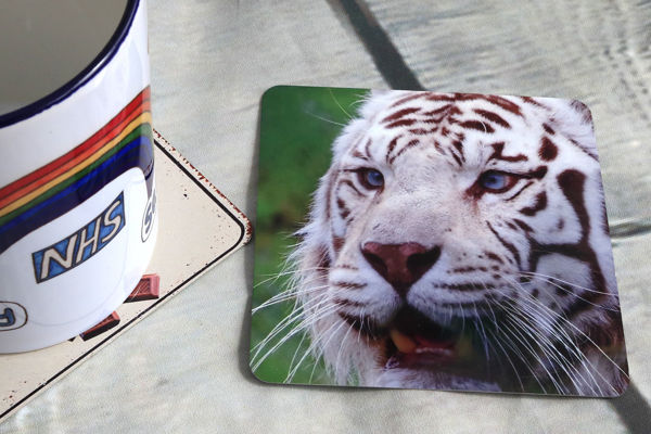 Picture of White Tiger - Aluminium Drinks Coaster